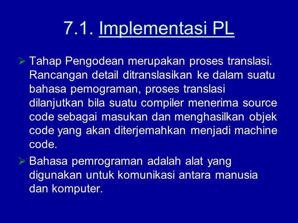 7.1. Implementasi PL  Tahap Pengodean merupakan proses translasi. Rancangan detail ditranslasikan ke dalam suatu bahasa pemograman, proses translasi