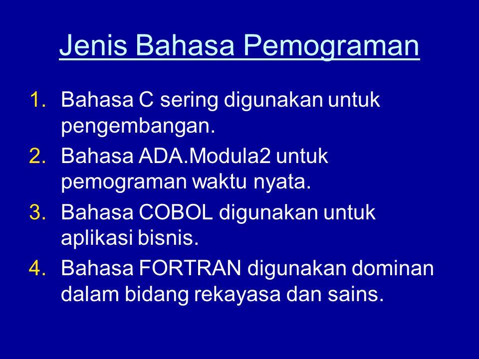 Jenis Bahasa Pemograman 1.Bahasa C sering digunakan untuk pengembangan. 2.Bahasa ADA.Modula2 untuk pemograman waktu nyata. 3.Bahasa COBOL digunakan un