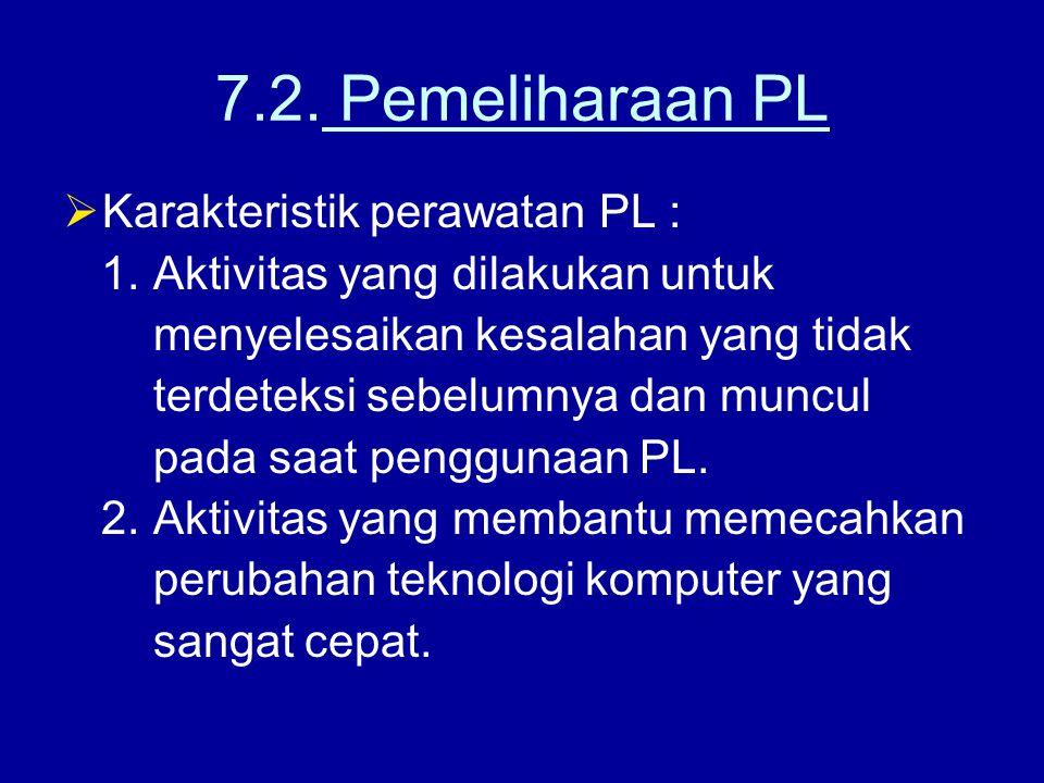 7.2. Pemeliharaan PL  Karakteristik perawatan PL : 1. Aktivitas yang dilakukan untuk menyelesaikan kesalahan yang tidak terdeteksi sebelumnya dan mun