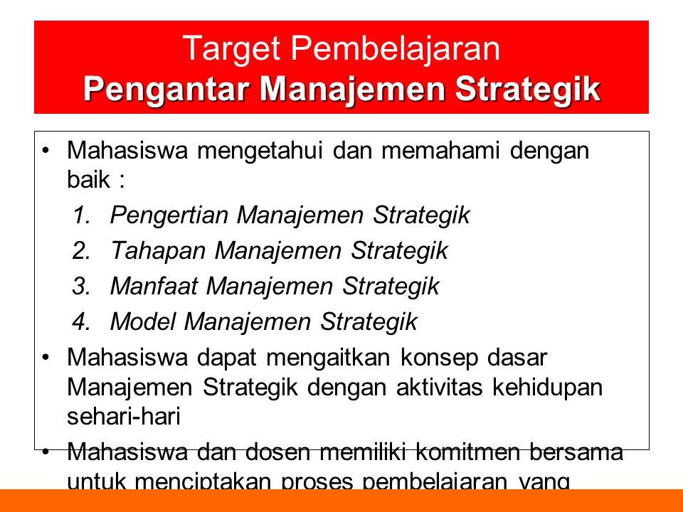 Pengantar Manajemen Strategik Target Pembelajaran Pengantar Manajemen Strategik Mahasiswa mengetahui dan memahami dengan baik : 1.Pengertian Manajemen Strategik 2.Tahapan Manajemen Strategik 3.Manfaat Manajemen Strategik 4.Model Manajemen Strategik Mahasiswa dapat mengaitkan konsep dasar Manajemen Strategik dengan aktivitas kehidupan sehari-hari Mahasiswa dan dosen memiliki komitmen bersama untuk menciptakan proses pembelajaran yang kondusif