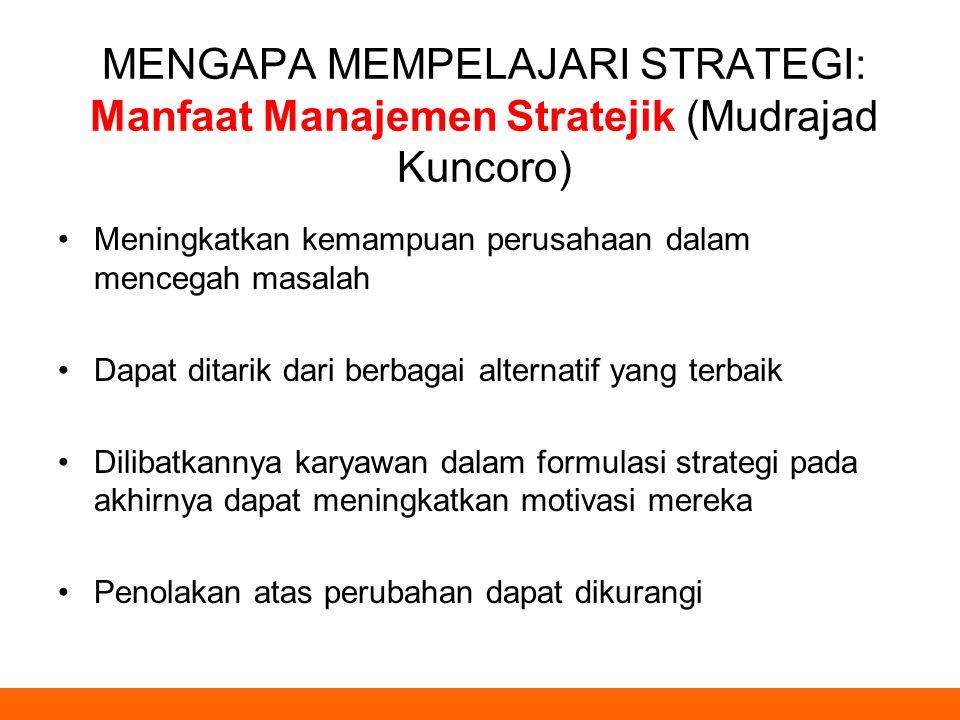 MENGAPA MEMPELAJARI STRATEGI: Manfaat Manajemen Stratejik (Mudrajad Kuncoro) Meningkatkan kemampuan perusahaan dalam mencegah masalah Dapat ditarik da