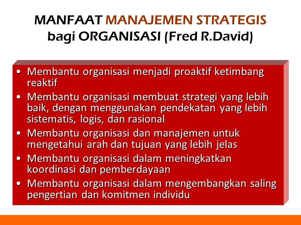 MANFAAT MANAJEMEN STRATEGIS bagi ORGANISASI (Fred R.David) Membantu organisasi menjadi proaktif ketimbang reaktifMembantu organisasi menjadi proaktif ketimbang reaktif Membantu organisasi membuat strategi yang lebih baik, dengan menggunakan pendekatan yang lebih sistematis, logis, dan rasionalMembantu organisasi membuat strategi yang lebih baik, dengan menggunakan pendekatan yang lebih sistematis, logis, dan rasional Membantu organisasi dan manajemen untuk mengetahui arah dan tujuan yang lebih jelasMembantu organisasi dan manajemen untuk mengetahui arah dan tujuan yang lebih jelas Membantu organisasi dalam meningkatkan koordinasi dan pemberdayaanMembantu organisasi dalam meningkatkan koordinasi dan pemberdayaan Membantu organisasi dalam mengembangkan saling pengertian dan komitmen individuMembantu organisasi dalam mengembangkan saling pengertian dan komitmen individu