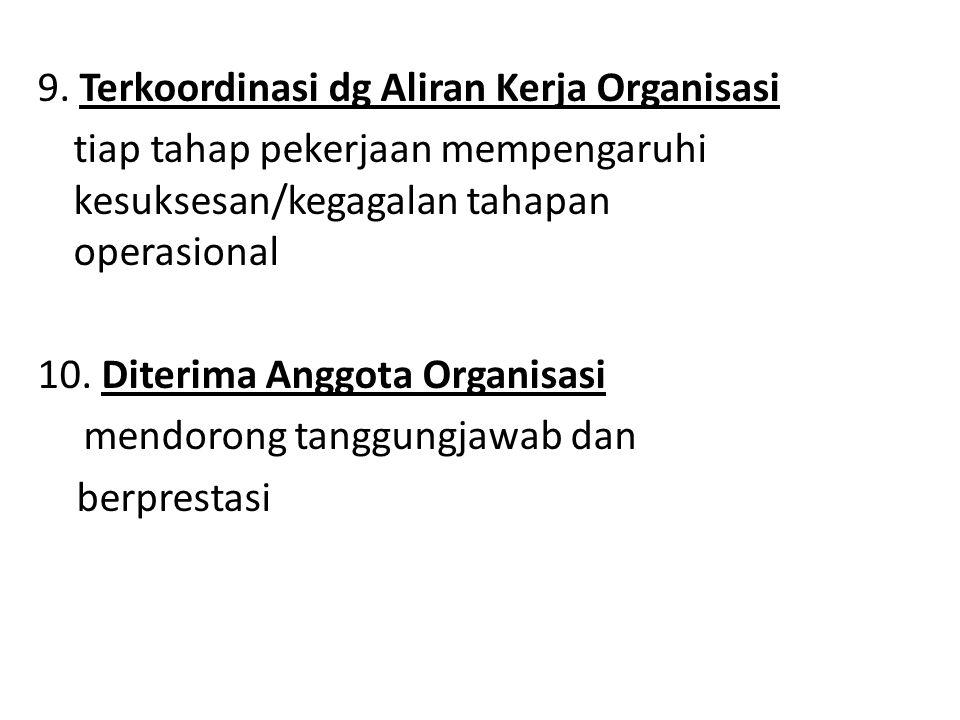 9. Terkoordinasi dg Aliran Kerja Organisasi tiap tahap pekerjaan mempengaruhi kesuksesan/kegagalan tahapan operasional 10. Diterima Anggota Organisasi