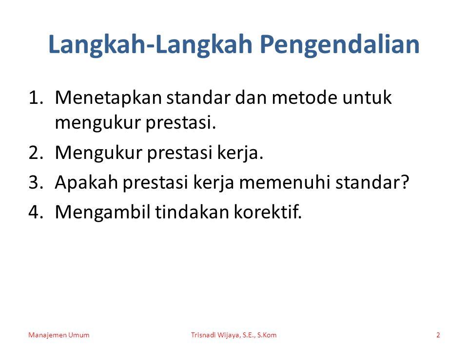 Langkah-Langkah Pengendalian 1.Menetapkan standar dan metode untuk mengukur prestasi.