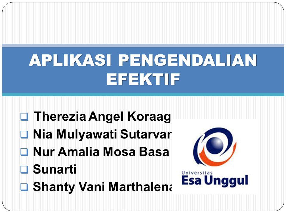  Therezia Angel Koraag  Nia Mulyawati Sutarvan  Nur Amalia Mosa Basa  Sunarti  Shanty Vani Marthalena APLIKASI PENGENDALIAN EFEKTIF