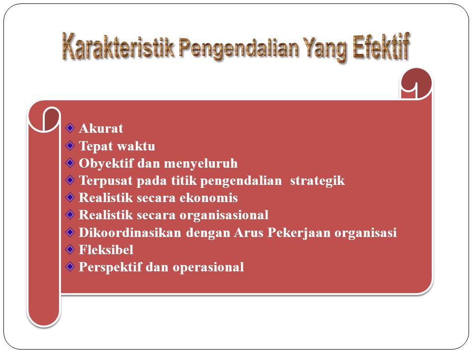 Akurat Tepat waktu Obyektif dan menyeluruh Terpusat pada titik pengendalian strategik Realistik secara ekonomis Realistik secara organisasional Dikoordinasikan dengan Arus Pekerjaan organisasi Fleksibel Perspektif dan operasional Akurat Tepat waktu Obyektif dan menyeluruh Terpusat pada titik pengendalian strategik Realistik secara ekonomis Realistik secara organisasional Dikoordinasikan dengan Arus Pekerjaan organisasi Fleksibel Perspektif dan operasional