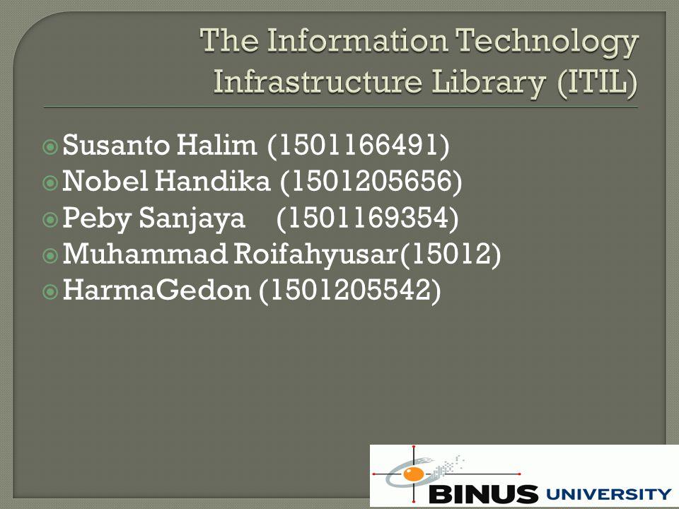  http://www.thinkhdi.com/~/media/HDIS olutionCenter/Files/Vendor%20Resourc es/Frontrange/ITIL_SuccessKit_NA.pdf  http://itgov.cs.ui.ac.id/itgov/IT%20Infrast ructure%20Library.pdf http://itgov.cs.ui.ac.id/itgov/IT%20Infrast ructure%20Library.pdf  www.binus.edu