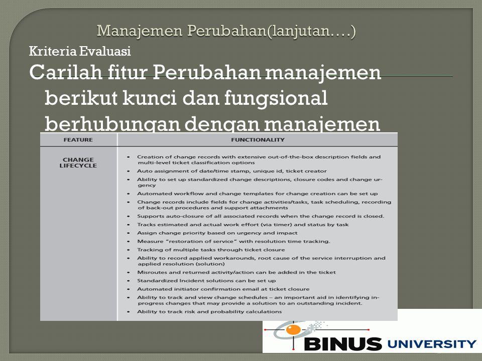 Kriteria Evaluasi Carilah fitur Perubahan manajemen berikut kunci dan fungsional berhubungan dengan manajemen pelayanan:
