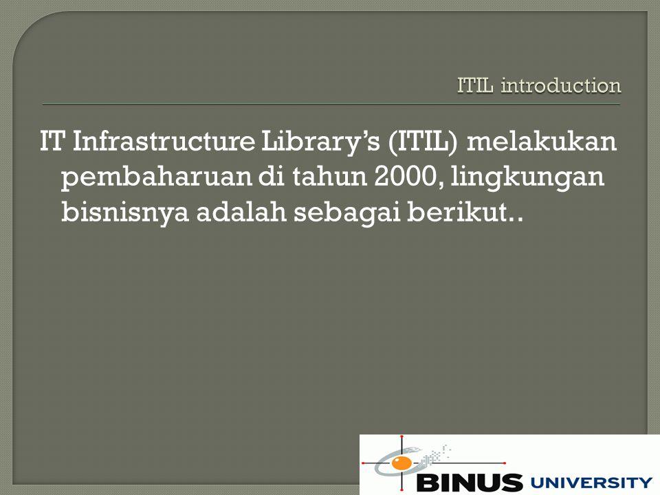The Information Technology Infrastructure Library (ITIL) mendefinisikan struktur organisasi dan persyaratan keterampilan dari organisasi teknologi informasi dan satu set prosedur manajemen operasional standar dan praktek untuk memungkinkan organisasi untuk mengelola operasi TI dan infrastruktur yang berkaitan.