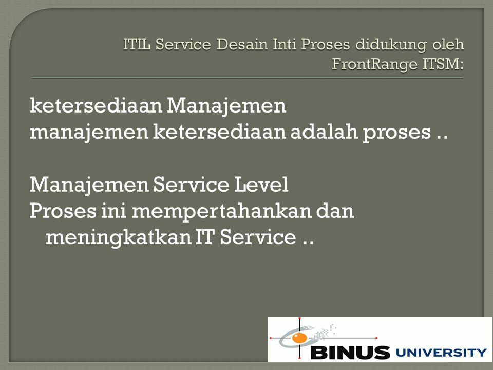 ketersediaan Manajemen manajemen ketersediaan adalah proses..