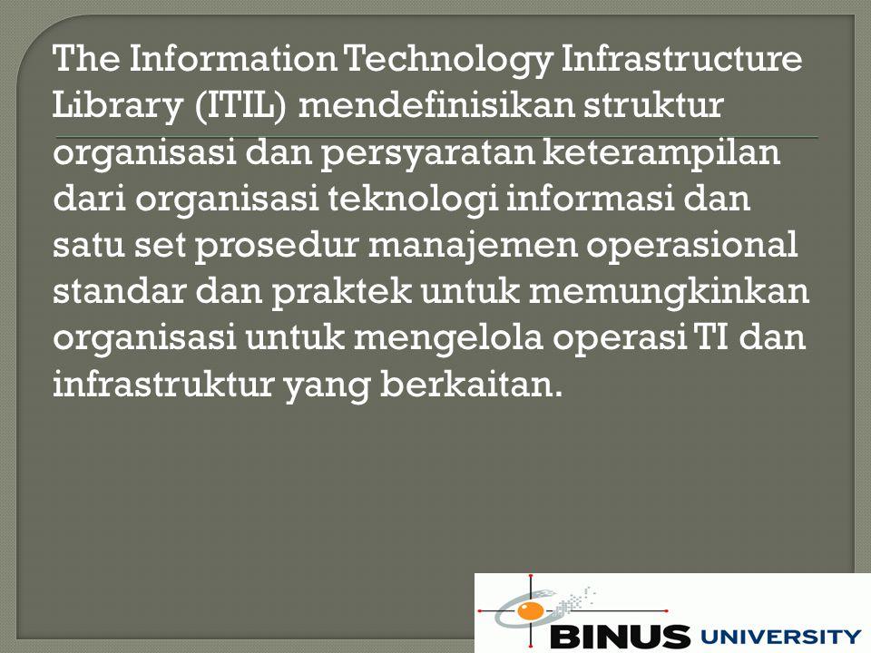 ITIL adalah pendekatan akal sehat untuk manajemen pelayanan, melakukan berbgagai pekerjaan.
