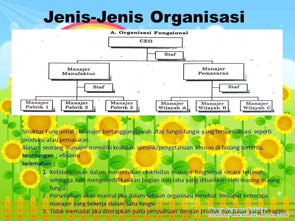Jenis-Jenis Organisasi Struktur Fungsional ; Manajer bertanggungjawab atas fungsi-fungsi yang terspesialisasi seperti produksi atau pemasaran.
