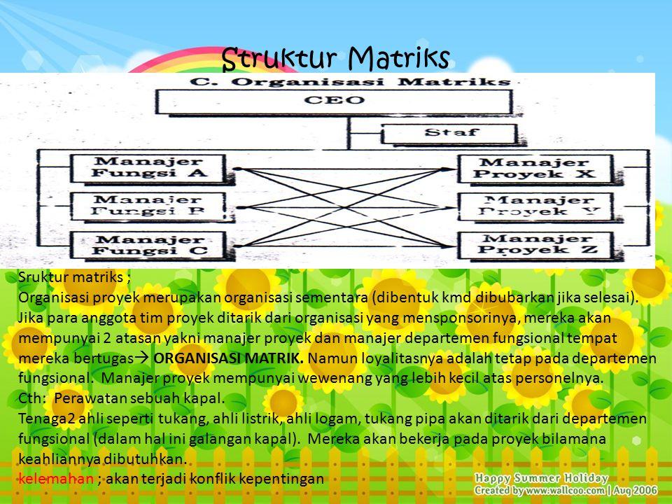 Struktur Matriks Sruktur matriks ; Organisasi proyek merupakan organisasi sementara (dibentuk kmd dibubarkan jika selesai).