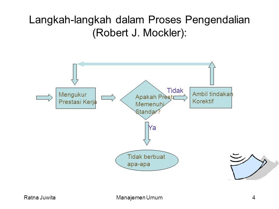 Langkah-langkah dalam Proses Pengendalian (Robert J. Mockler): Ratna JuwitaManajemen Umum4 Mengukur Prestasi Kerja Apakah Prestasi Memenuhi Standar? A