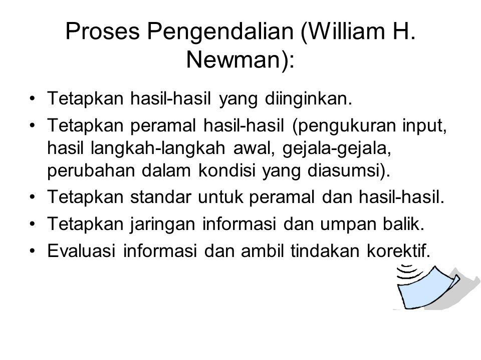 Proses Pengendalian (William H. Newman): Tetapkan hasil-hasil yang diinginkan. Tetapkan peramal hasil-hasil (pengukuran input, hasil langkah-langkah a