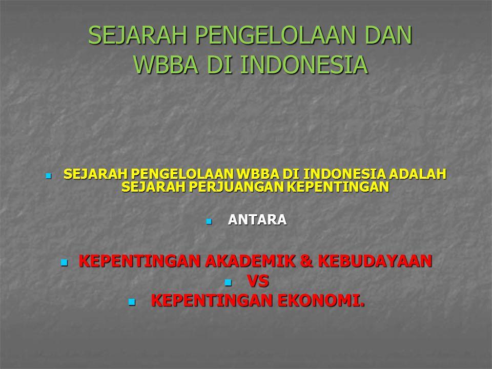 SEJARAH PENGELOLAAN DAN WBBA DI INDONESIA SEJARAH PENGELOLAAN WBBA DI INDONESIA ADALAH SEJARAH PERJUANGAN KEPENTINGAN SEJARAH PENGELOLAAN WBBA DI INDO
