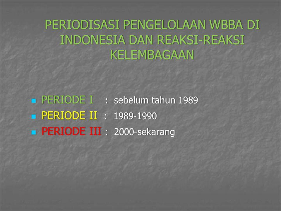 PERIODISASI PENGELOLAAN WBBA DI INDONESIA DAN REAKSI-REAKSI KELEMBAGAAN PERIODE I : sebelum tahun 1989 PERIODE I : sebelum tahun 1989 PERIODE II : 198