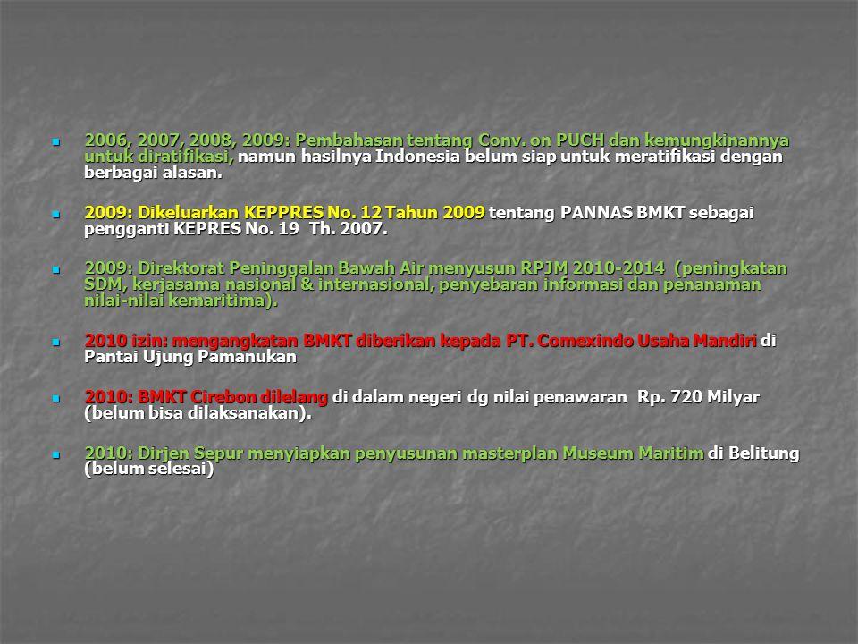 2006, 2007, 2008, 2009: Pembahasan tentang Conv. on PUCH dan kemungkinannya untuk diratifikasi, namun hasilnya Indonesia belum siap untuk meratifikasi
