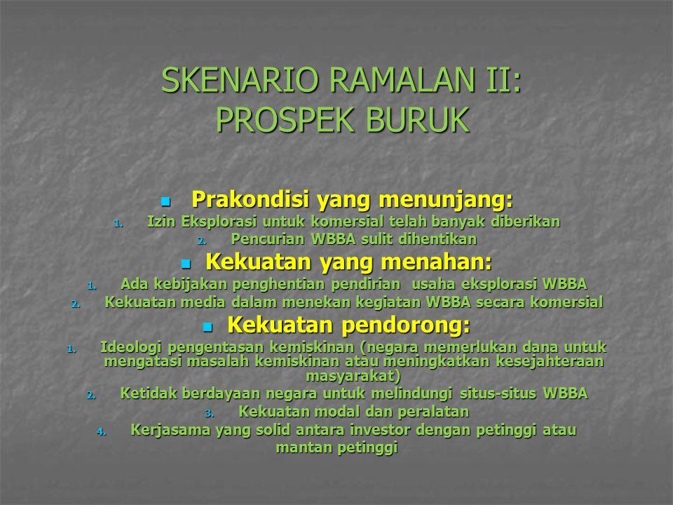 SKENARIO RAMALAN II: PROSPEK BURUK Prakondisi yang menunjang: Prakondisi yang menunjang: 1. Izin Eksplorasi untuk komersial telah banyak diberikan 2.