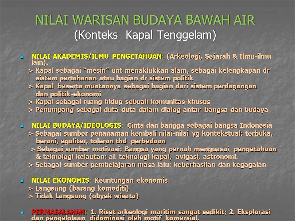 NILAI WARISAN BUDAYA BAWAH AIR (Konteks Kapal Tenggelam) NILAI AKADEMIS/ILMU PENGETAHUAN: (Arkeologi, Sejarah & Ilmu-ilmu lain).