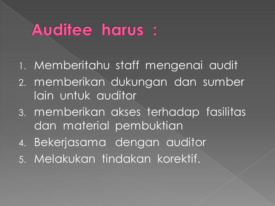 1. Memberitahu staff mengenai audit 2. memberikan dukungan dan sumber lain untuk auditor 3. memberikan akses terhadap fasilitas dan material pembuktia