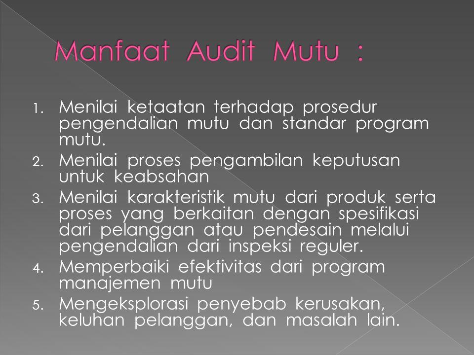 1. Menilai ketaatan terhadap prosedur pengendalian mutu dan standar program mutu. 2. Menilai proses pengambilan keputusan untuk keabsahan 3. Menilai k
