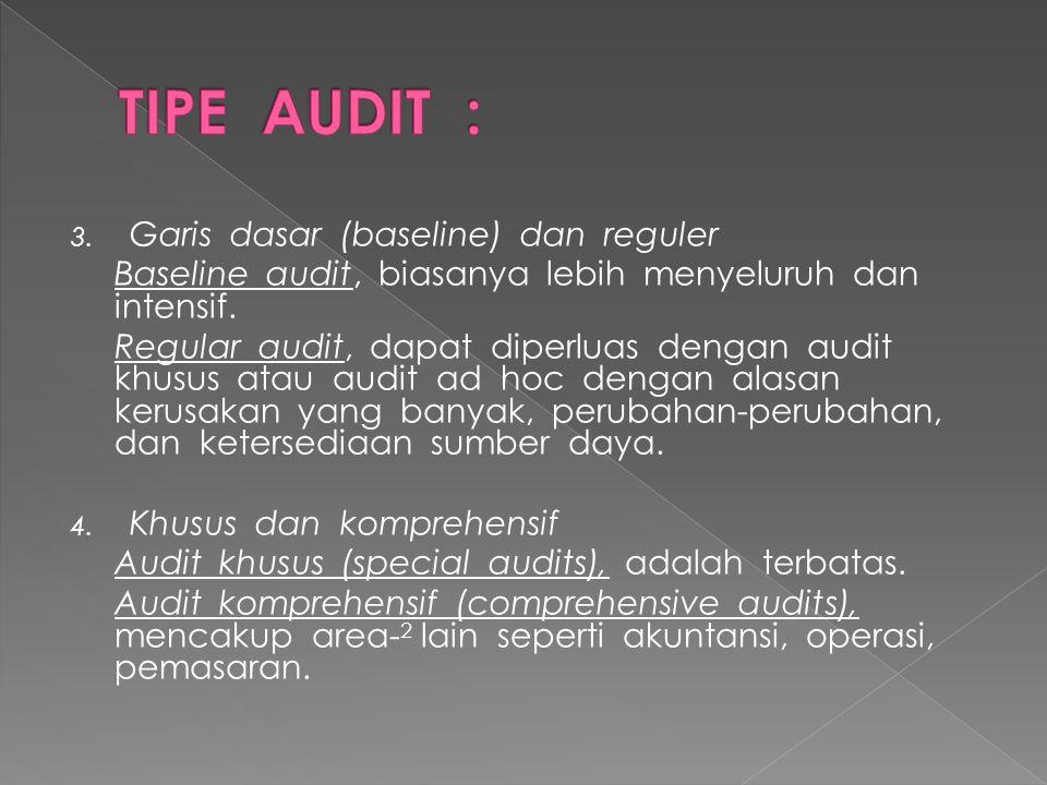 3. Garis dasar (baseline) dan reguler Baseline audit, biasanya lebih menyeluruh dan intensif. Regular audit, dapat diperluas dengan audit khusus atau