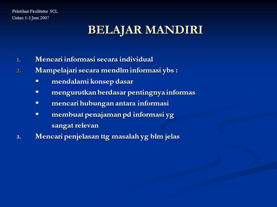 BELAJAR MANDIRI 1. Mencari informasi secara individual 2. Mampelajari secara mendlm informasi ybs :  mendalami konsep dasar  mengurutkan berdasar pe