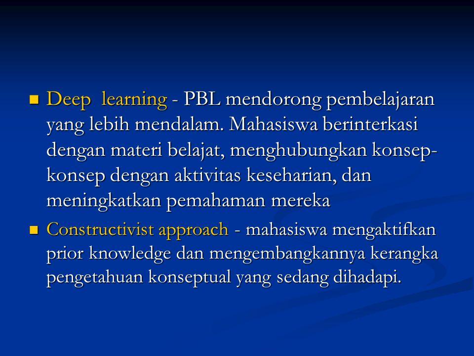 Deep learning - PBL mendorong pembelajaran yang lebih mendalam. Mahasiswa berinterkasi dengan materi belajat, menghubungkan konsep- konsep dengan akti
