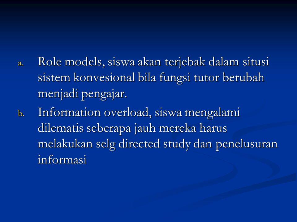a. Role models, siswa akan terjebak dalam situsi sistem konvesional bila fungsi tutor berubah menjadi pengajar. b. Information overload, siswa mengala