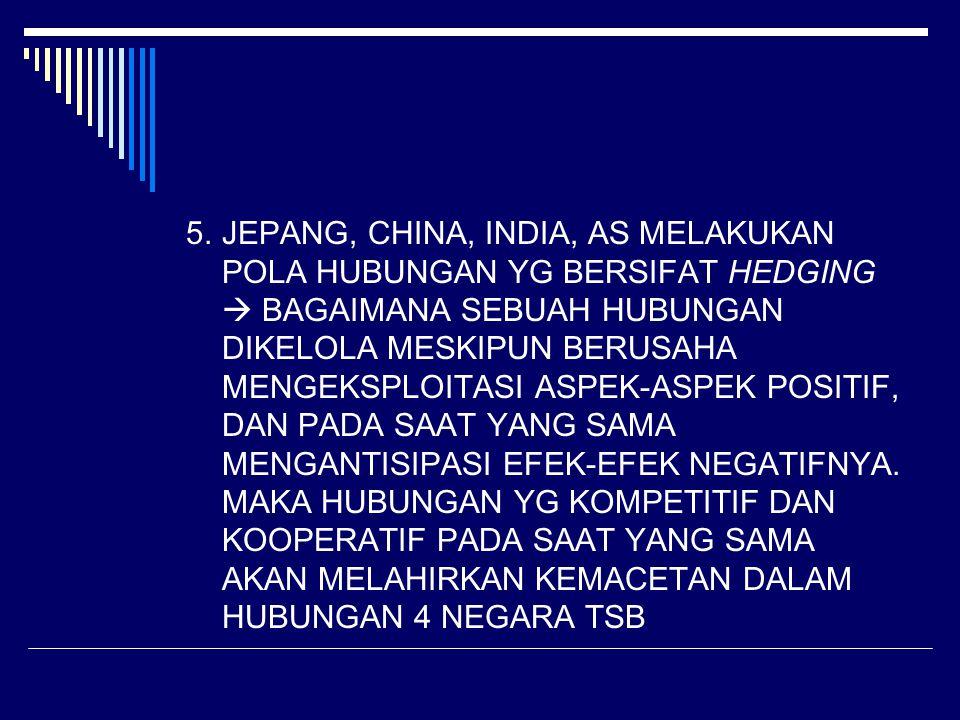 5.JEPANG, CHINA, INDIA, AS MELAKUKAN POLA HUBUNGAN YG BERSIFAT HEDGING  BAGAIMANA SEBUAH HUBUNGAN DIKELOLA MESKIPUN BERUSAHA MENGEKSPLOITASI ASPEK-AS