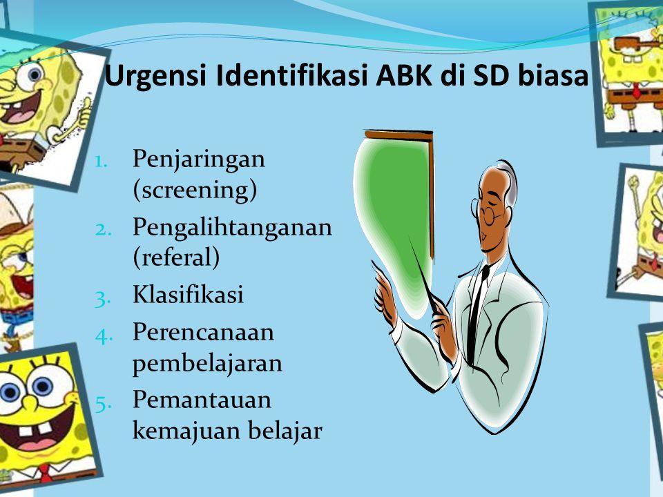 Urgensi Identifikasi ABK di SD biasa 1.Penjaringan (screening) 2.