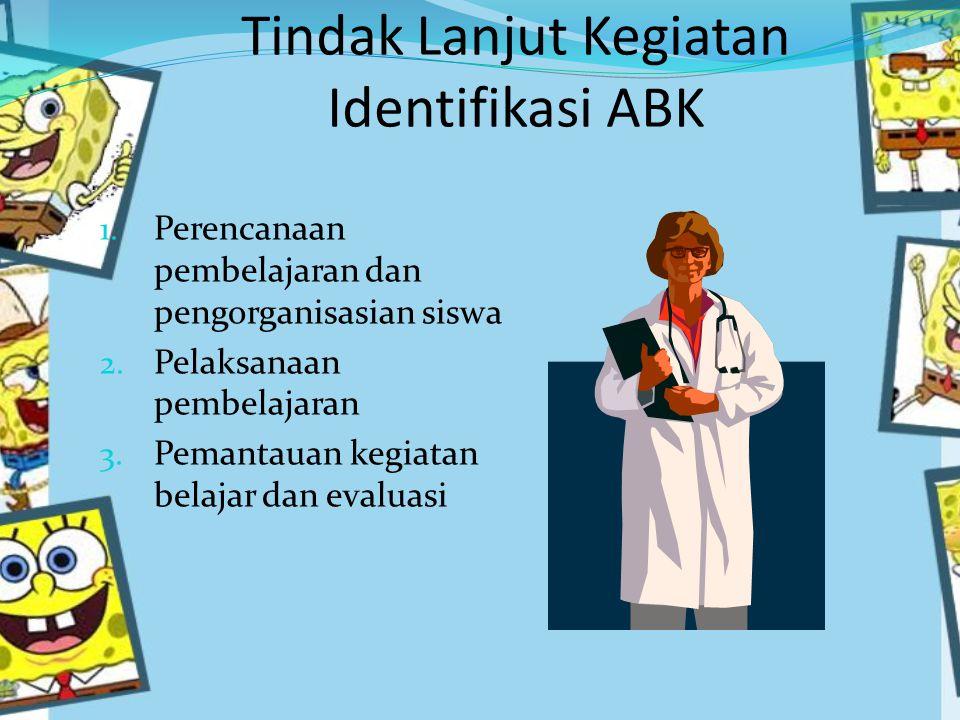 Tindak Lanjut Kegiatan Identifikasi ABK 1.Perencanaan pembelajaran dan pengorganisasian siswa 2.