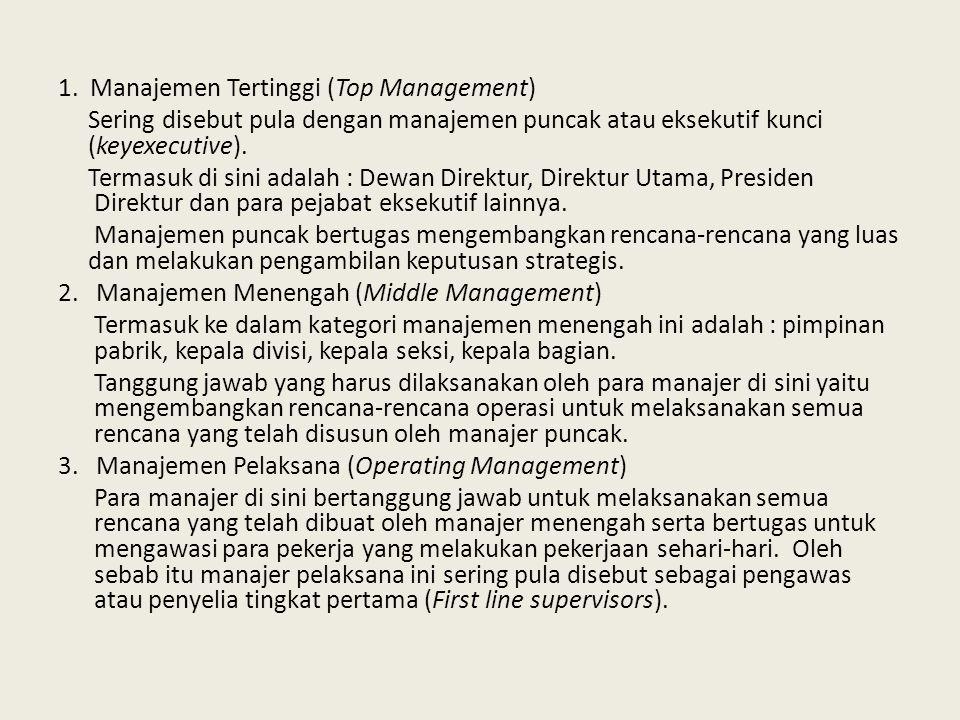 1. Manajemen Tertinggi (Top Management) Sering disebut pula dengan manajemen puncak atau eksekutif kunci (keyexecutive). Termasuk di sini adalah : Dew