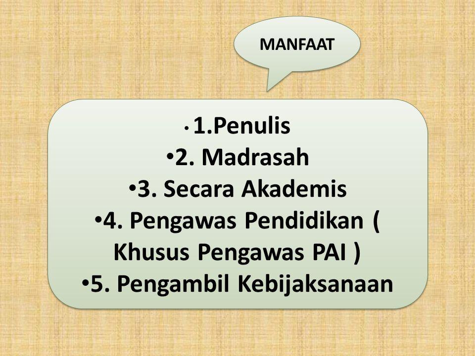 MANFAAT 1.Penulis 2. Madrasah 3. Secara Akademis 4. Pengawas Pendidikan ( Khusus Pengawas PAI ) 5. Pengambil Kebijaksanaan 1.Penulis 2. Madrasah 3. Se