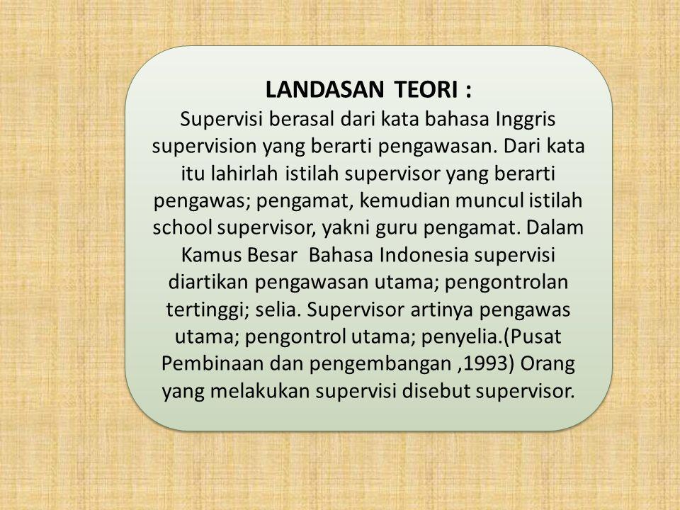LANDASAN TEORI : Supervisi berasal dari kata bahasa Inggris supervision yang berarti pengawasan. Dari kata itu lahirlah istilah supervisor yang berart