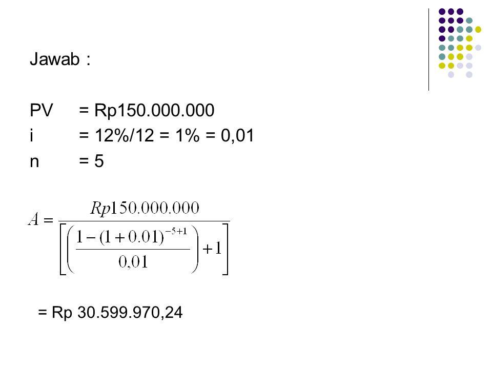 Jawab : PV= Rp150.000.000 i= 12%/12 = 1% = 0,01 n= 5 = Rp 30.599.970,24