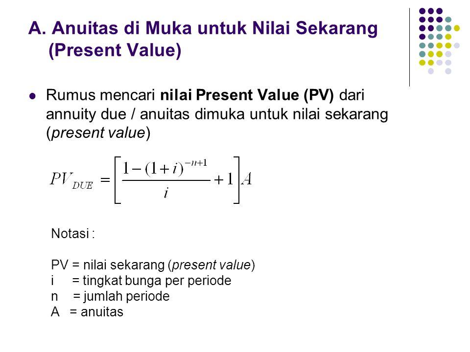 A. Anuitas di Muka untuk Nilai Sekarang (Present Value) Rumus mencari nilai Present Value (PV) dari annuity due / anuitas dimuka untuk nilai sekarang
