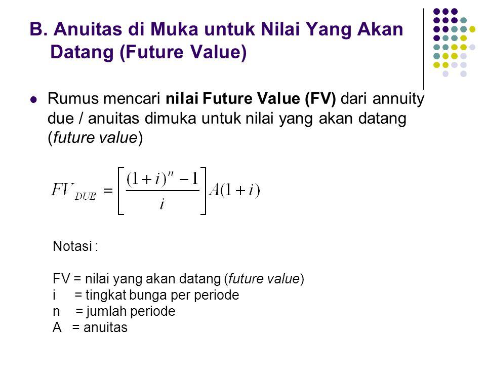B. Anuitas di Muka untuk Nilai Yang Akan Datang (Future Value) Rumus mencari nilai Future Value (FV) dari annuity due / anuitas dimuka untuk nilai yan