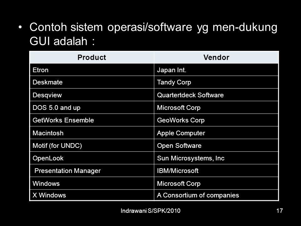 Indrawani S/SPK/201017 Contoh sistem operasi/software yg men-dukung GUI adalah : ProductVendor EtronJapan Int.