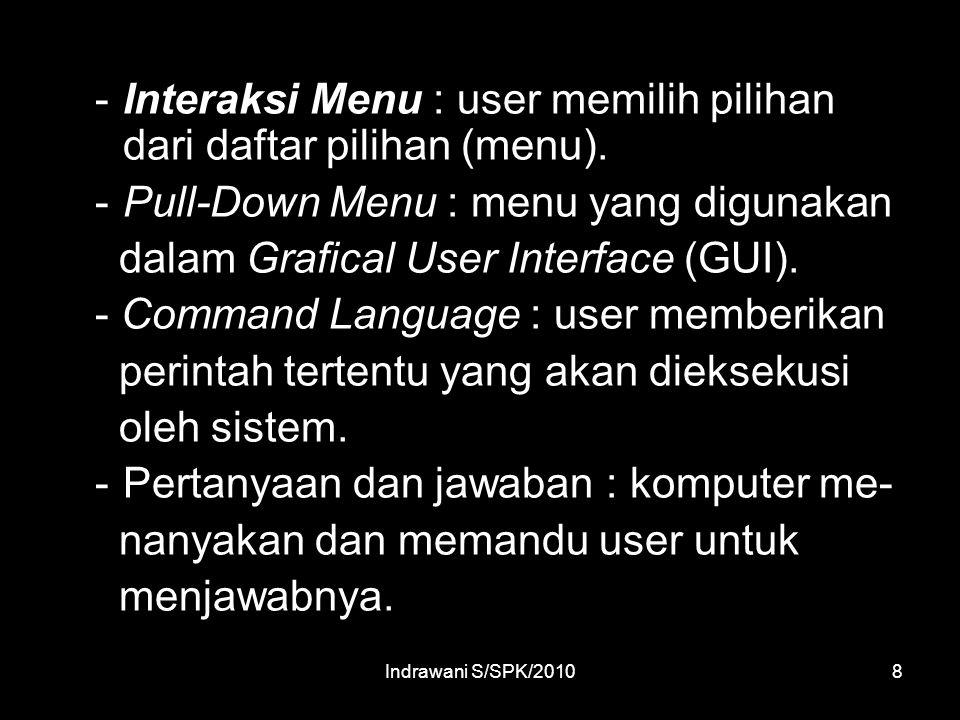 Indrawani S/SPK/20108 -Interaksi Menu : user memilih pilihan dari daftar pilihan (menu).