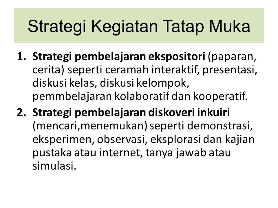 Strategi Kegiatan Tatap Muka 1.Strategi pembelajaran ekspositori (paparan, cerita) seperti ceramah interaktif, presentasi, diskusi kelas, diskusi kelo