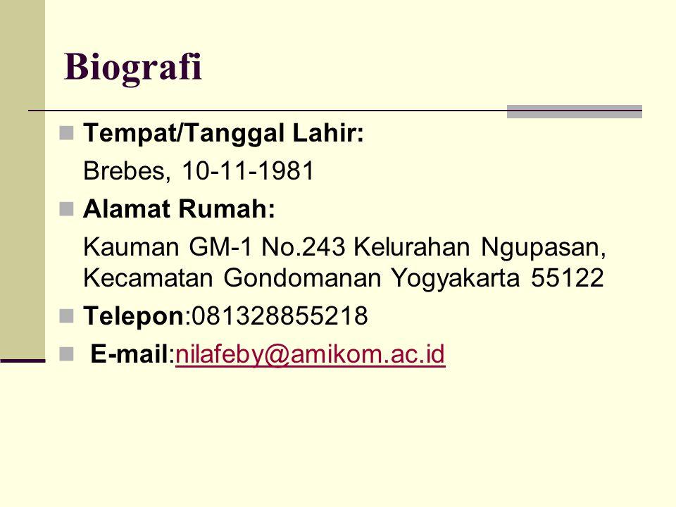 Biografi Tempat/Tanggal Lahir: Brebes, 10-11-1981 Alamat Rumah: Kauman GM-1 No.243 Kelurahan Ngupasan, Kecamatan Gondomanan Yogyakarta 55122 Telepon:081328855218 E-mail:nilafeby@amikom.ac.idnilafeby@amikom.ac.id