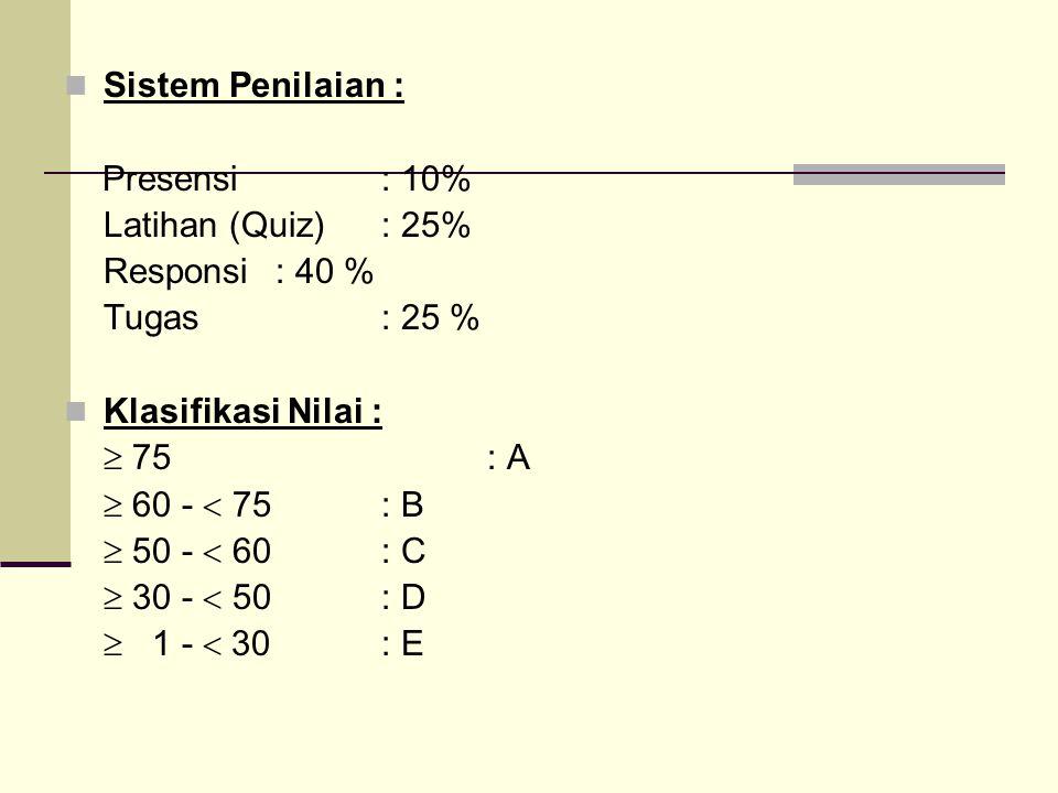 Sistem Penilaian : Presensi: 10% Latihan (Quiz): 25% Responsi: 40 % Tugas: 25 % Klasifikasi Nilai :  75: A  60 -  75: B  50 -  60: C  30 -  50: D  1 -  30: E