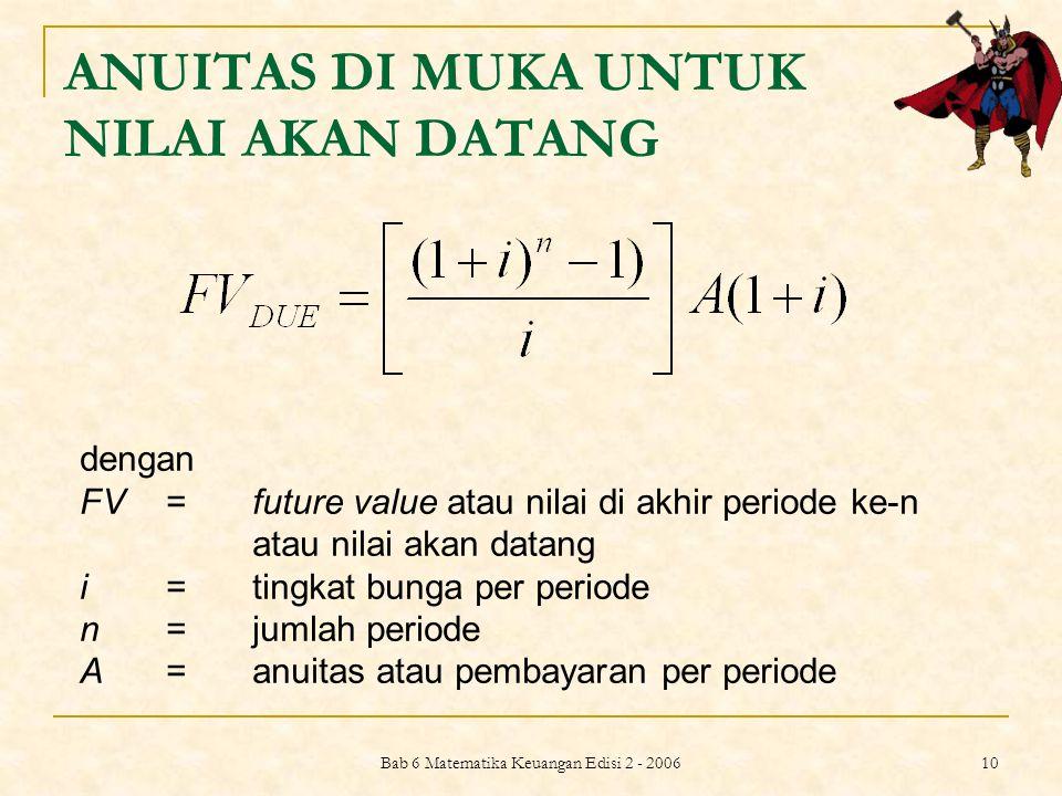 Bab 6 Matematika Keuangan Edisi 2 - 2006 10 ANUITAS DI MUKA UNTUK NILAI AKAN DATANG dengan FV =future value atau nilai di akhir periode ke-n atau nila