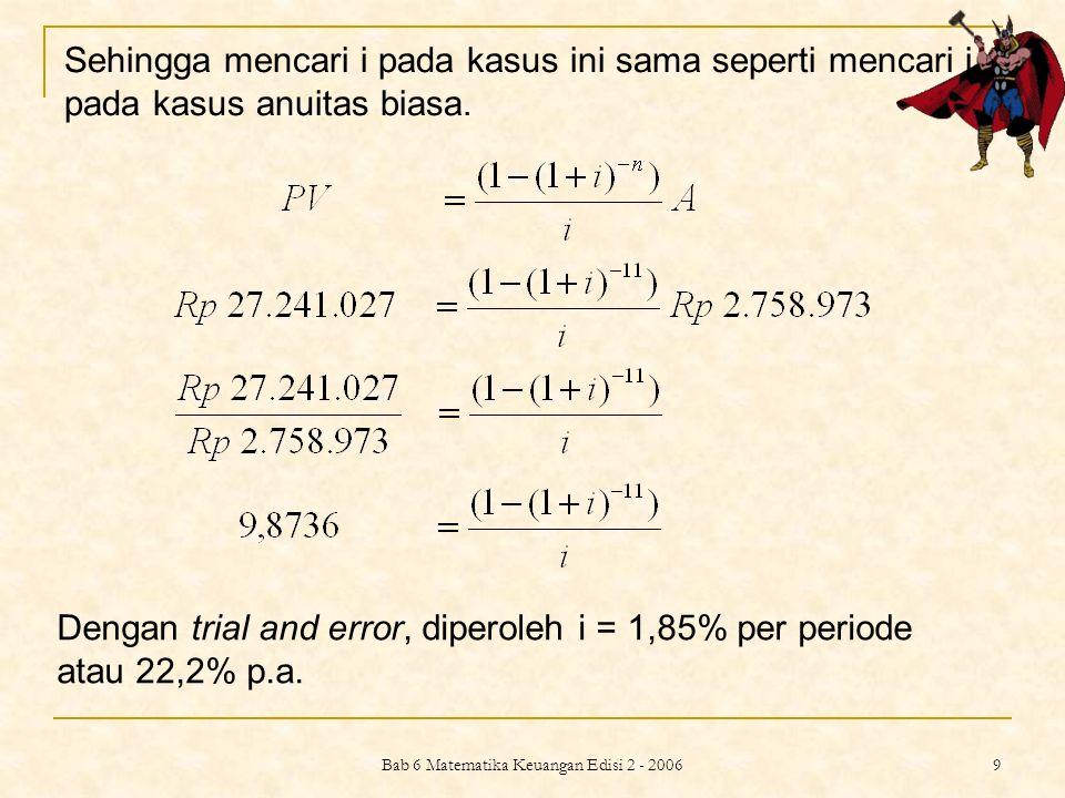 Bab 6 Matematika Keuangan Edisi 2 - 2006 9 Sehingga mencari i pada kasus ini sama seperti mencari i pada kasus anuitas biasa. Dengan trial and error,