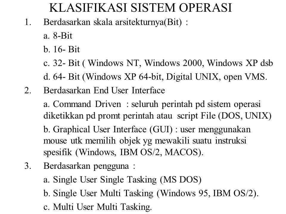 KLASIFIKASI SISTEM OPERASI 1.Berdasarkan skala arsitekturnya(Bit) : a.8-Bit b.16- Bit c.32- Bit ( Windows NT, Windows 2000, Windows XP dsb d.64- Bit (