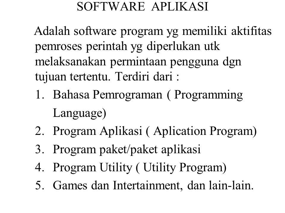 SOFTWARE APLIKASI Adalah software program yg memiliki aktifitas pemroses perintah yg diperlukan utk melaksanakan permintaan pengguna dgn tujuan terten