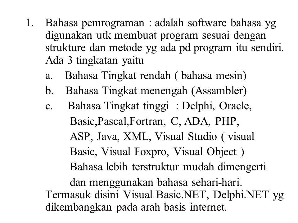 1.Bahasa pemrograman : adalah software bahasa yg digunakan utk membuat program sesuai dengan strukture dan metode yg ada pd program itu sendiri. Ada 3