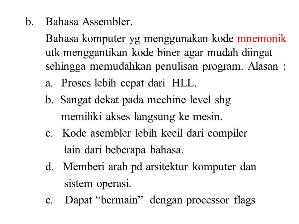 b.Bahasa Assembler.